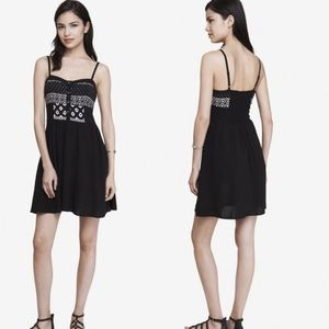 EXPRESS Black & White Printed Cami Sundress Dress